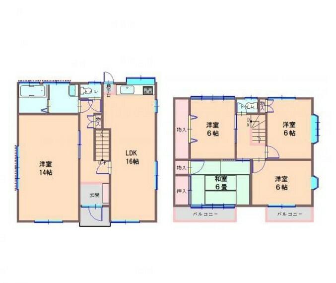 間取り図 昭和59年11月築・木造 瓦葺2階建・建物面積128.14m2(38.76坪)5LDKです。水回りの交換を中心としたリフォームでリフレッシュしましたのでさわやかに新生活をスタートできますよ。