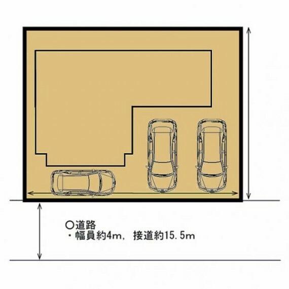 区画図 【区画図】間口約15.5m、奥行約11.5mです。普通車2台並列駐車、軽1台横付駐車可能です。地面にはコンクリートを敷くので、足元も安全です。