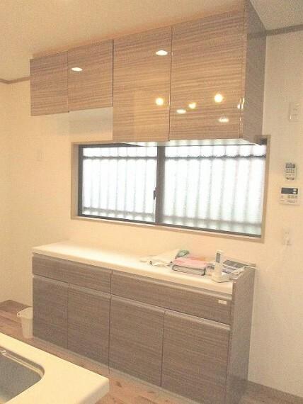 キッチン 収納スペースと窓があるキッチン