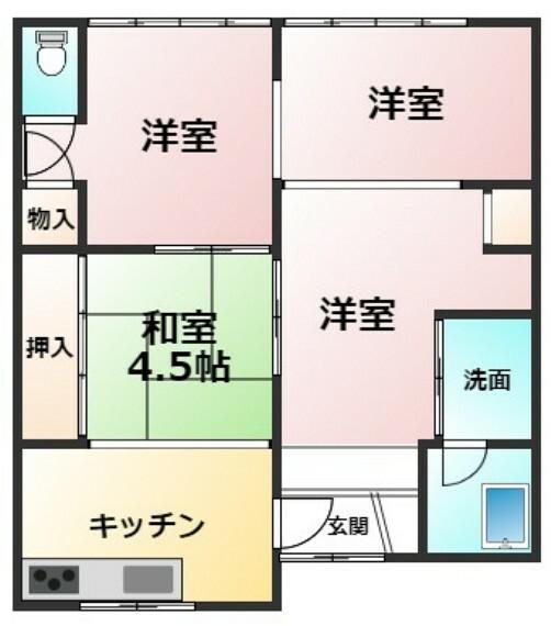 間取り図 土地面積96.03平米 建物面積41.75平米 4K