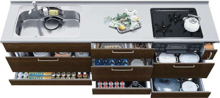 キッチン オールスライドキャビネット  収納しやすく取り出しやすいスライドキャビネット。キッチンまわりの用品を無駄なく美しく収納します。