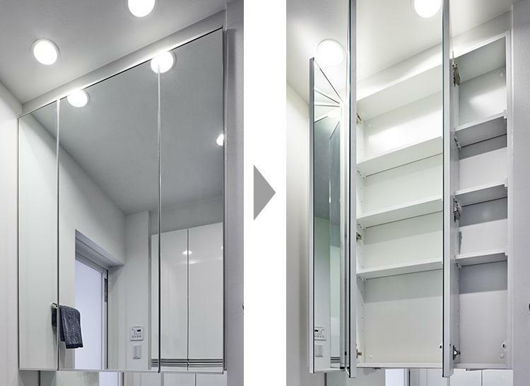 洗面化粧台 3面鏡収納  ミラー裏を化粧品等の小物を収める収納として利用できます。