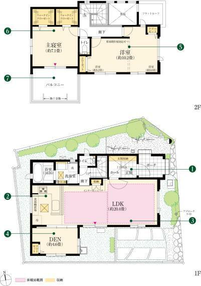 間取り図 16号棟 2(3)LDK+DEN+2WIC ■土地面積 125.00平米(約37.81坪) ■延床面積 99.99平米(約30.24坪) ■1階面積/56.93平米 ■2階面積/43.06平米