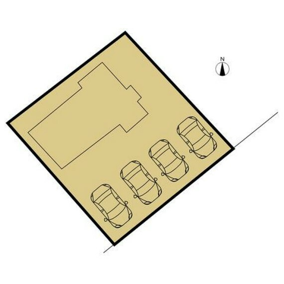 区画図 敷地図です。南東側のお庭は解体し駐車場になります。間口を全て拡張いたしますので並列4台が駐車可能になります。