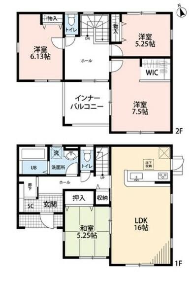 間取り図 4LDKとウォークインクローゼットでゆとりのある暮らしが実現。2階は洋室が3部屋あるので、お子様が大きくなっても安心ですね。