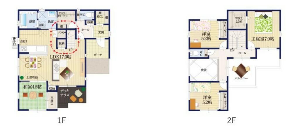 間取り図 【36号地 間取り図】4360万円(消費税・外構費込※家具付き) 4LDK 土地面積 178.54m2 建物面積 106.81m2