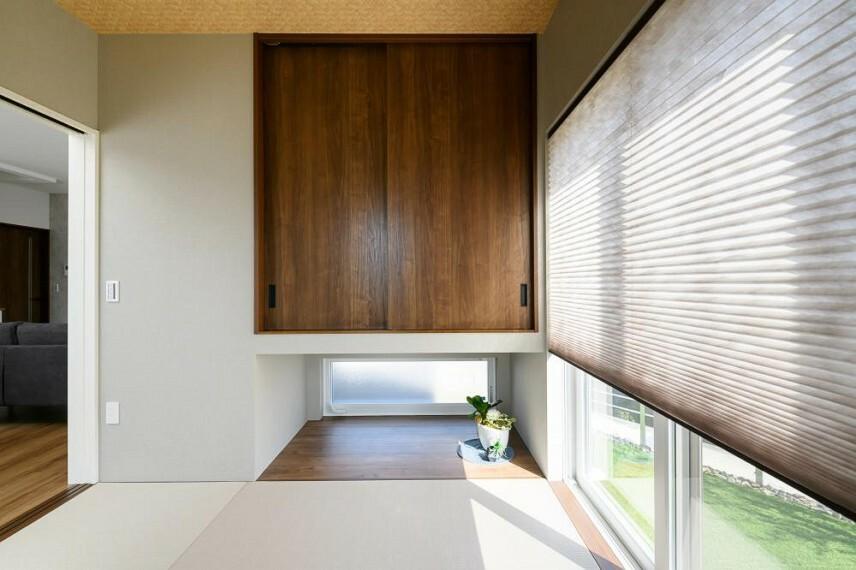 和室 【36号地 和室】日常空間としての利用から客間としてお客様をもてなしたり、季節の飾りをしつらえたりと、1室で多目的に活用することが出来ます。
