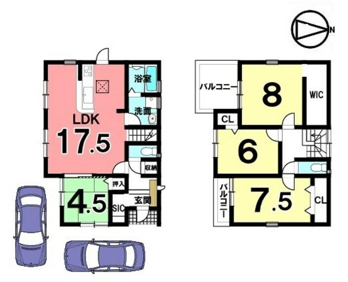 間取り図 全室南向きの光あふれる物件です。LDKは広々17.5帖、駐車2台可能です。