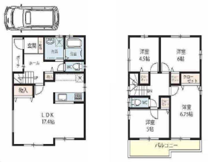 土地図面 建物プラン例 建物価格 1590万円、建物面積 95.57平米
