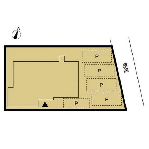 区画図 【配置図】普通車縦並列5台駐車できるよう整備します。