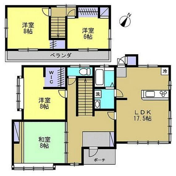 間取り図 【リフォーム予定間取図】1階:LDK17.5帖、洋室8帖、和室8帖 2階:洋室8帖、和室6帖