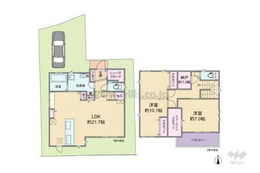 間取り図 2018年築の築浅戸建てです!LDKは約21.7帖の広々とした空間になります。2LDKという間取りですが、2階の洋室は2部屋に区切れるようになっており、3LDKへと変更可能です。