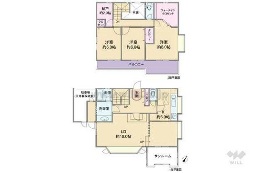 間取り図 建物は昭和56年8月築の造階建て。間取りは延べ床面積134.84平米の3SLDK。全居室6帖以上で、サンルーム付きのプラン。ウォークインクロゼット、約2帖の納戸、駐車場の上に小屋裏収納があり収納豊富。