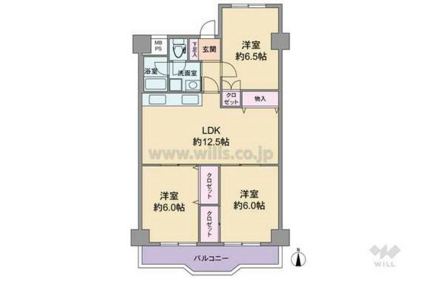 間取り図 専有面積70.75平米のマンションです。2020年12月に床・壁紙・住宅設備等全面改装予定です。そのままお住まいいただけます。