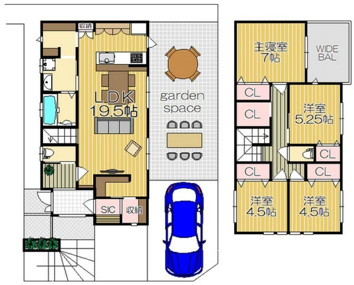 間取り図 4LDK/新設シャッター付き車庫/パントリー付き/全居室収納/ウォークインクローゼット/シューズインクローゼット/ガーデニングスペース