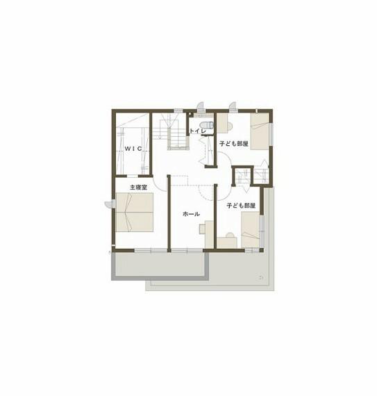 間取り図 ●2階ホールはテレワークや室内物干し空間、セカンドリビングや将来的なプラスワンの子供部屋など、多目的にご利用頂けるスペースです。