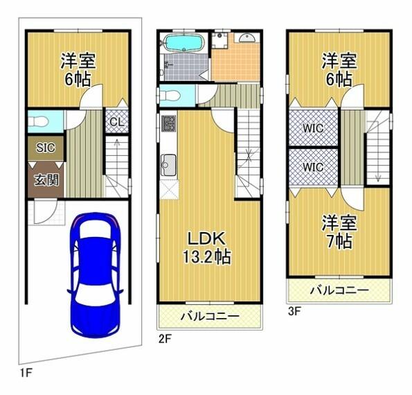土地図面 建物価格1200万円、建物延床面積85.86平米、3LDK