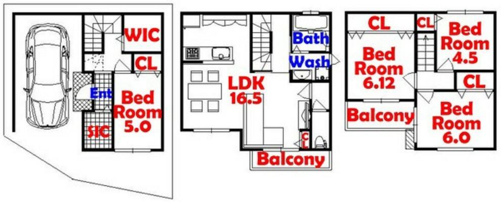 間取り図 4SLDK/家事動線バッチリ/人気のカウンターキッチン/シューズインクローゼット付/ウォークインクローゼット付/全居室収納/リビング収納
