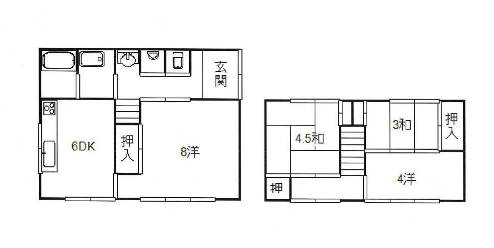 間取り図 1F:DK6、洋8 2F:和4.5、和3、洋4