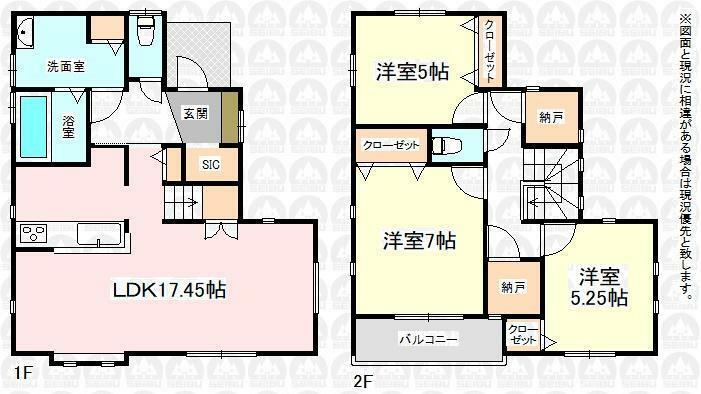 間取り図 2号棟、4580万円、3LDK+2S、土地面積95.44m2、建物面積91.3m2