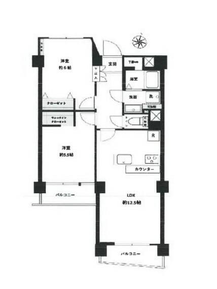 間取り図 間取りは2LDK、南面バルコニー、各居室に窓があり日当たり良好。