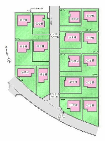 区画図 全体配置図 ゆとりの駐車スペース有