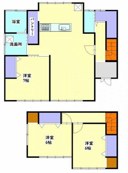間取り図 【間取り図】3LDKの間取りです。対面式キッチンにすることでお子様の様子を見ながら家事ができますよ。