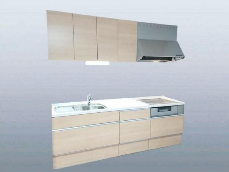 キッチン 【同仕様写真】新品EIDAI製システムキッチンの天板は人工大理石で傷付きにくく使いやすく、水栓金具はオールインワン浄水栓です。(扉色は写真とは違うハーモニックホワイト柄予定)