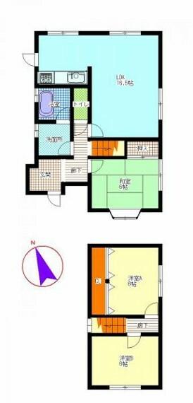 間取り図 【間取り図】現在リフォーム中。水回りの全交換、壁と天井のクロス貼替、床フローリング等お客様が生活しやすい環境にリフォームします。