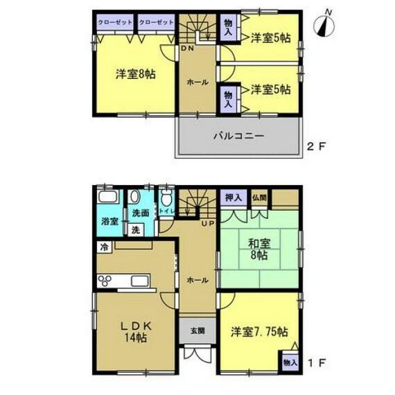 間取り図 【リフォーム後間取図】4LDKの2階建てです。若い方でも住みやすいように、リフォームして洋室を増やしています。