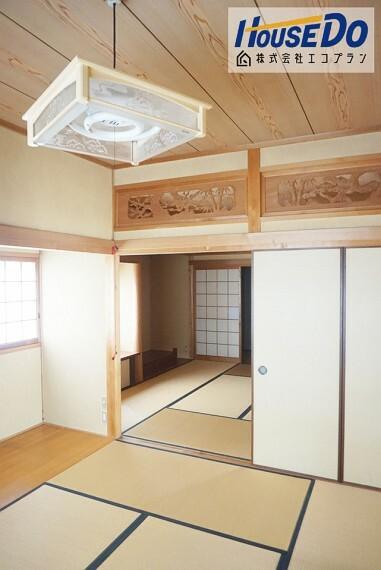 和室 8帖と6帖の贅沢な続き間です! 広縁付きなので、広々と使っていただけます  陽当たりも良く、ご家族皆がくつろげるお部屋になりそうですね!