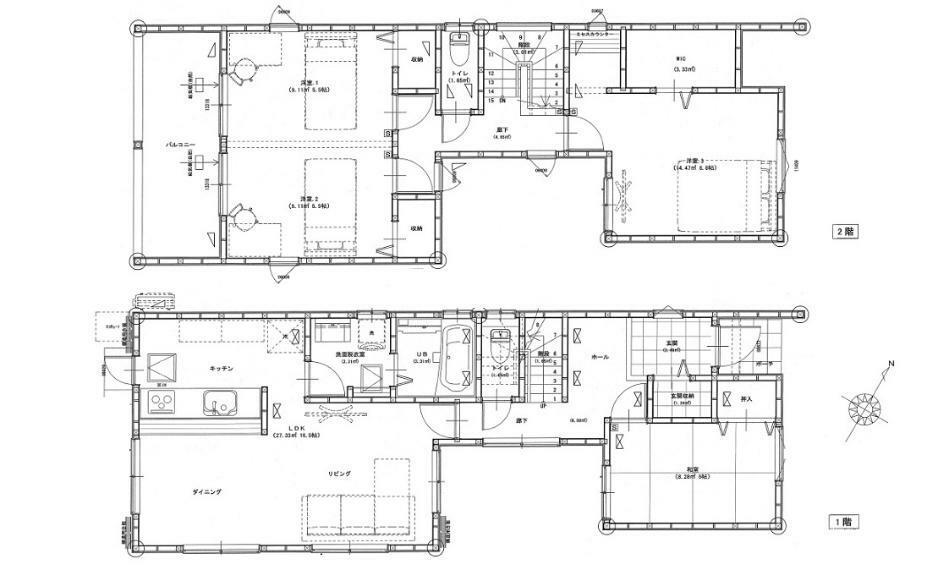 間取り図 3080万円、4LDK、土地面積283.8m2、建物面積104.53m2