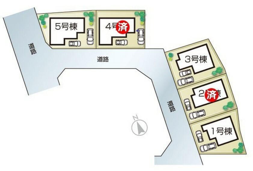 区画図 高砂市阿弥陀町魚橋20-1期 全5邸 区画図