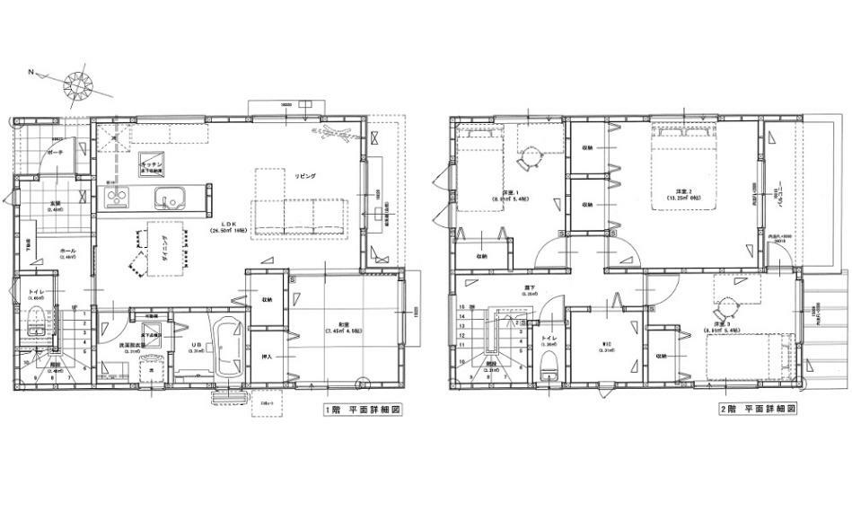 間取り図 3380万円、4LDK、土地面積155.63m2、建物面積101.02m2 JR岩国駅徒歩12分