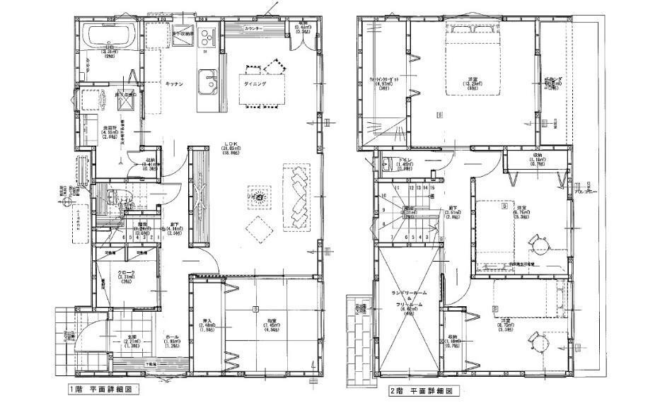 間取り図 3280万円、4LDK、土地面積150.24m2、建物面積117.58m2 JR和木駅徒歩11分