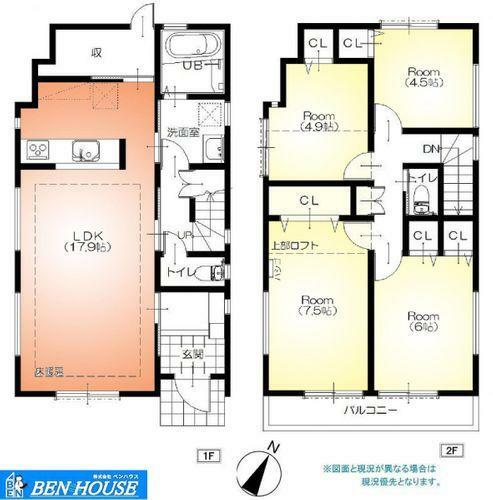 間取り図 ・水回りが集約されたプランで家事負担が軽減されますね ・各居室の収納だけでなく、キッチンそばの大容量パントリーや階段下収納・ロフトも設けられており、スッキリ片付きます ・充実の仕様・設備で販売中