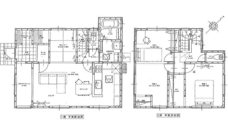 間取り図 2080万円、4LDK、土地面積177.82m2、建物面積99.78m2