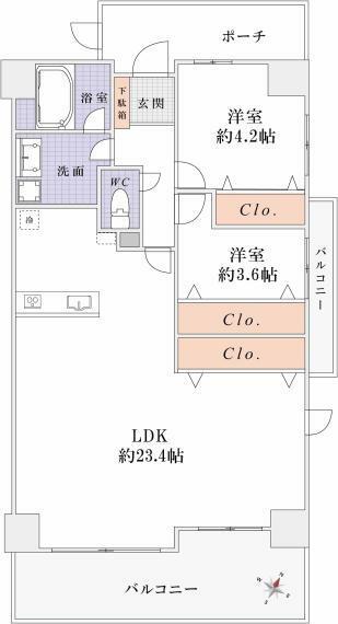 間取り図 <オプション工事> 2LDKプラン:33万円(税込) 洋室8.4帖→2部屋