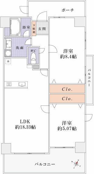 間取り図 <オプション工事> 2LDKプラン:21万円(税込) LDK→LDK・洋室