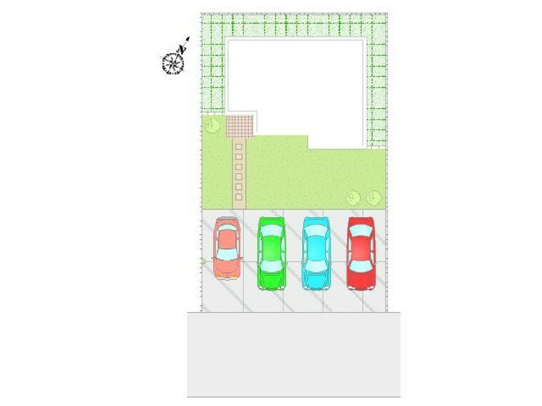 区画図 B号棟:配置図・・・車4台並列駐車できます!日当たりのいいお庭も広々スペースで菜園やBBQと多目的にご使用いただけます。