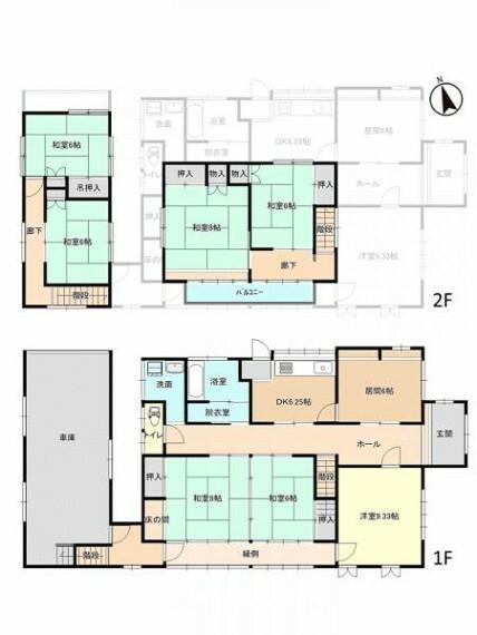 間取り図 【現況間取図】これから間取りを変更するリフォーム工事を予定しています。和室の多い住宅ですが洋室中心の間取りにしていきます。