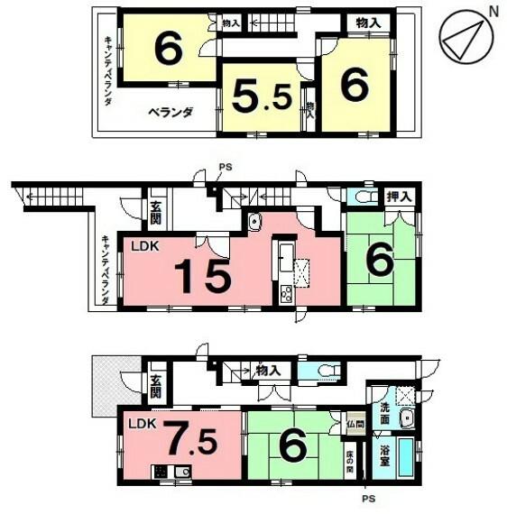 間取り図 土地面積 121.30平米(36.69坪) 建物面積 149.68平米(45.27坪) 5LDK 駐車場1台