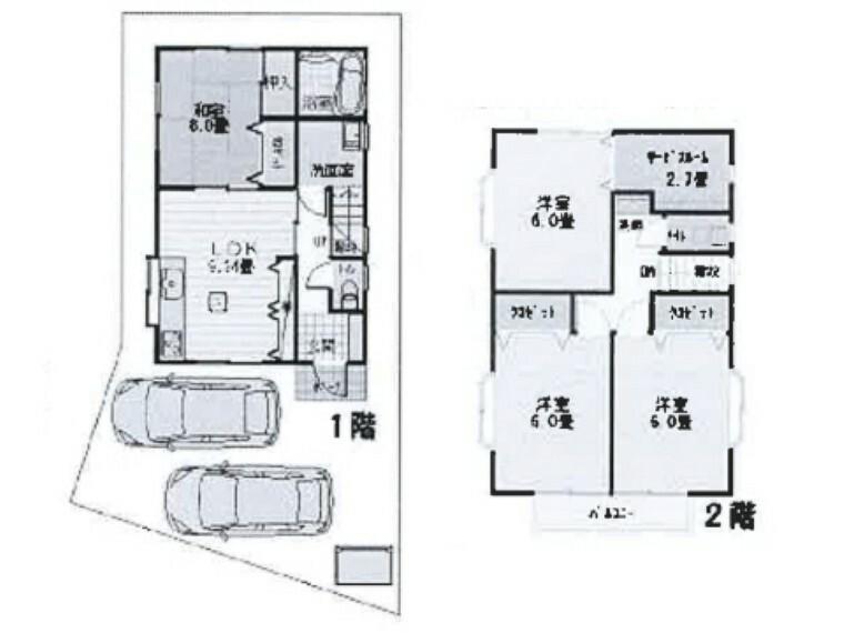 間取り図 サービスルームのある全居室6帖以上のお住まい