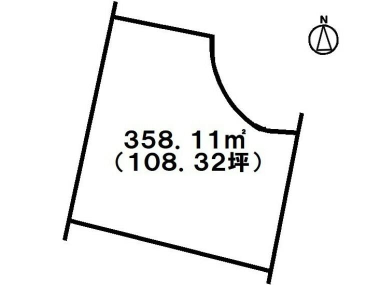 土地図面 土地面積108.32坪・建築条件なし!建物取り壊し予定!ファミリーマート寒川店徒歩6分(約450m)