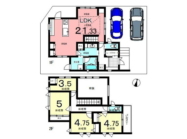 間取り図 3LDK+S 各居室は収納付。収納・階段以外はすべて床暖房が入っております。高気密な住宅だから光熱費もびっくりする安さです