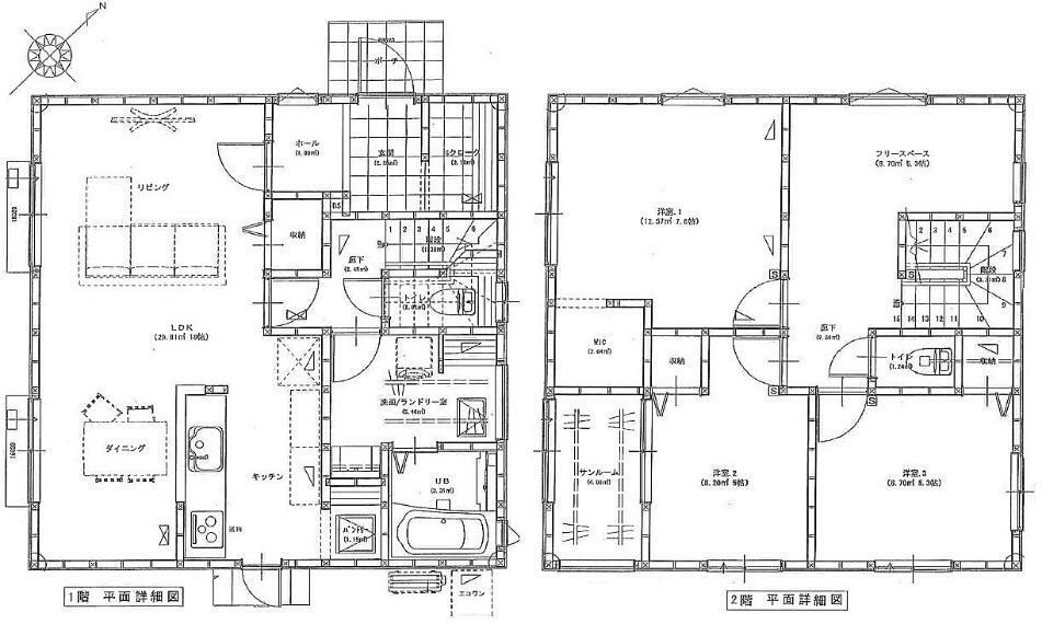 間取り図 2150万円、3LDK、土地面積168.87m2、建物面積105.98m2