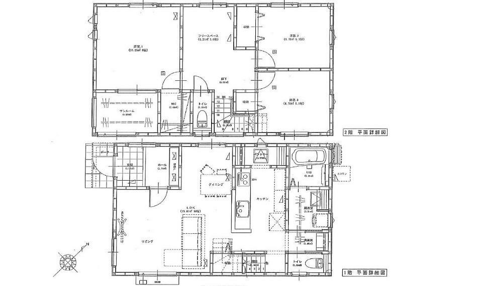 間取り図 2180万円、3LDK、土地面積165.29m2、建物面積104.33m2