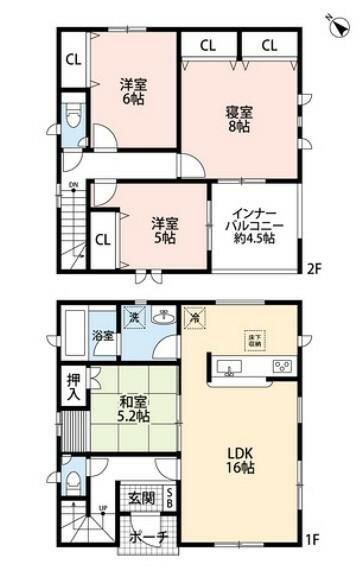 間取り図 4LDK、全居室収納付きでゆとりのある暮らしが実現。床の間付きの和室は住む人のこだわりを活かしますね^^