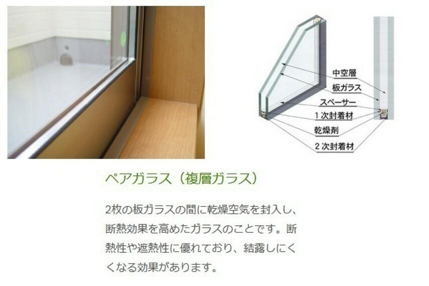 複層ガラス 断熱性、遮熱性の効果があり、結露しにくいといった利点もあります。