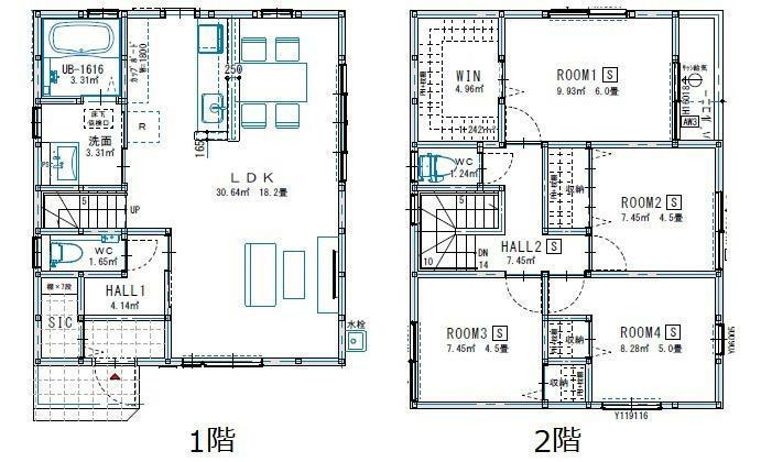 間取り図 3780万円、4LDK、土地面積106.23m2、建物面積96.05m2